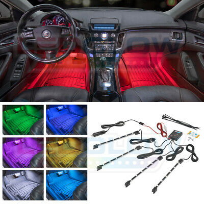 4pc LEDGLOW 7 COLOR LED INTERIOR KIT FOOTWELL NEON LIGHTS KIT w MUSIC MODES