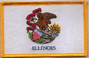 Illinois US State Flag Embroidered Patch T8