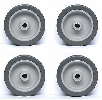 Set Of 4 X 75Mm Dia. Grey Rubber Tyred Wheels