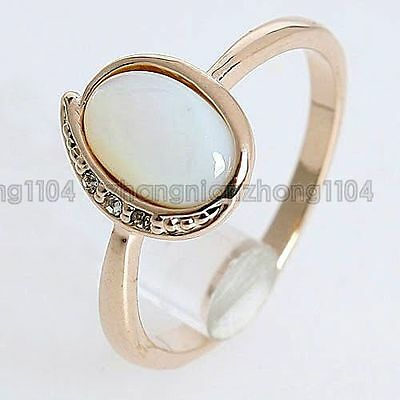 Simulated Jade Stone Band 18K GP Golden Ring 184RR