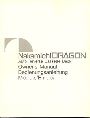 Nakamichi Dragon Owners Manual in Le Français & Deutsch