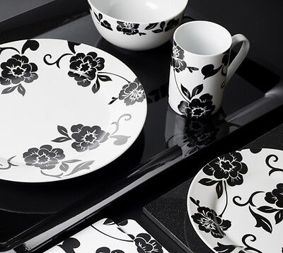 VIVIENNE 16 Piece Black and White Porcelain DINNER SET By Creative Tops
