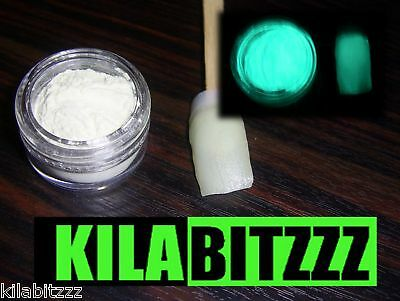 Glow in the Dark AQUA Nail Powder - Acrylic or Varnish