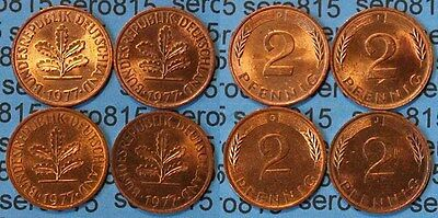 2 Pfennig complete set year 1977 all Mintmarks (472