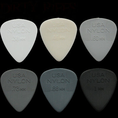 6 Dunlop Nylon Standard Guitar Picks Any Combination