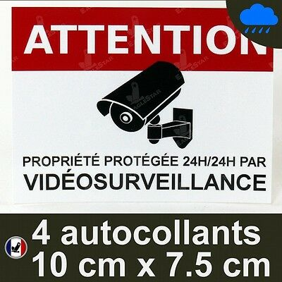 4 Autocollants video surveillance dissuasif alarme