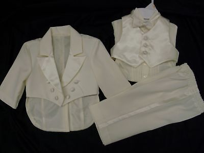 new boy IVORY vest penguin tail tuxedo S M L XL 6 12 18 24m