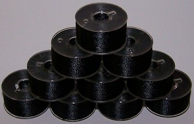 144 A SIZE PLASTIC SIDED EMBROIDERY BOBBINS JANOME Blac