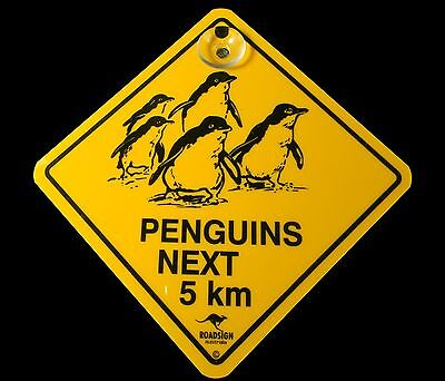Australian Made Souvenir Roadsign Car Window Suction Swinger Sign Penguin
