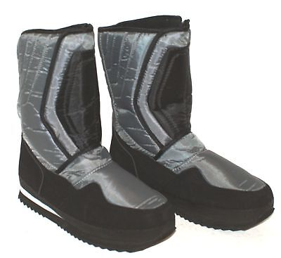 MEN'S THERMAL LINED SNOW WINTER BOOTS  Silver/Black