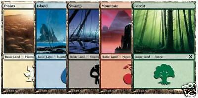 Magic the Gathering 200 Basic Land 40 of Each Colour