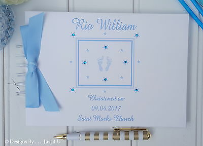 """Personalised """"baby Feet"""" Christening / Guest Book /photo/scrapbook"""