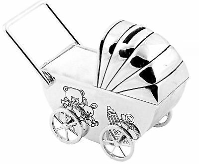 Personalised Pram Money Box, Engraved Baby Children's Christening Gift,