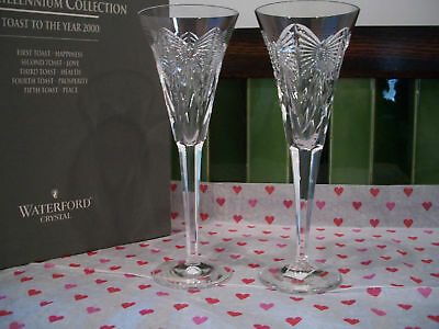 Waterford CRYSTAL MILLENNIUM  HAPPINESS FLUTES  MIB