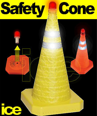 RETRACTABLE EMERGENCY TRIP HAZARD WARNING SAFETY CONE cw FLASHING RED LED BEACON