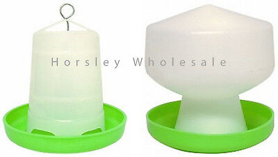 Poultry Bird Chicken Drinker Waterer 1.3L & 1.5kg Feeder Grain Seed Set Farm