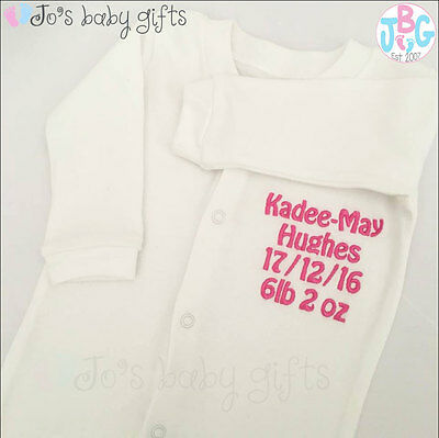 Personalised Embroidered Baby Grow/Sleepsuit, Quality Baby clothes, STITCHED!