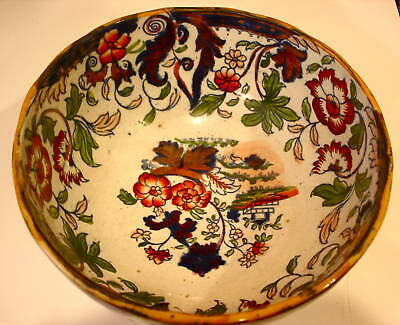 Antique Staffordshire bowl. Polychromed and luster