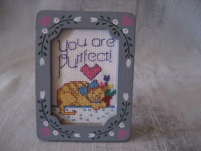 You are Purrfect Completed Framed Cross Stitch