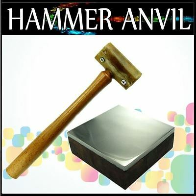 "7"" Rawhide Mallet Hammer Bench Block with Wooden Base"