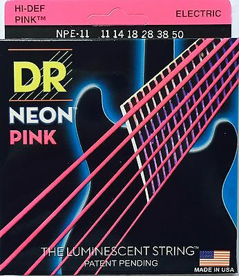 DR Neon PINK Elec Guitar Strings 11-50 Heavy