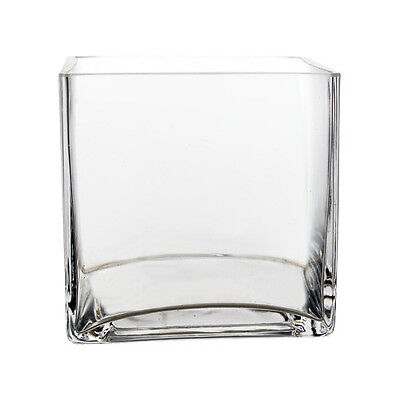 "Clear Glass Square 4"" Cube Vase Candle Holder Wedding Floral Home Decor - 12pcs"
