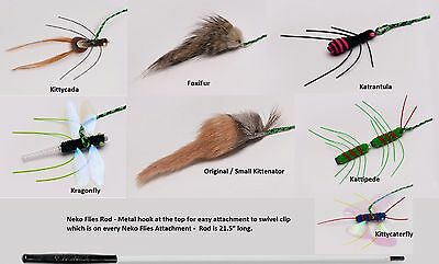 NEKO FLIES CAT TOYS - Interchangeable Teaser Wand Rod Replacement Bugs Insects
