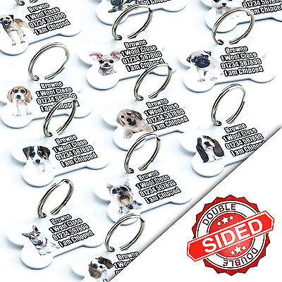 Breed Bone Dog PET ID TAGS Personalised Dog Name Tag - Engraved FREE - Own Image