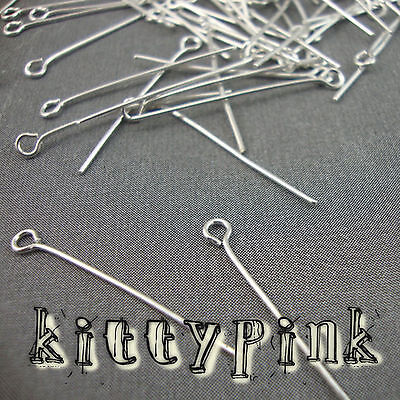 100 Silver Plated Eyepins 30 x 0.7mm Eye Pins Findings