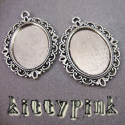 25x18 Silver Plated Cameo Cabochon Settings Vintage