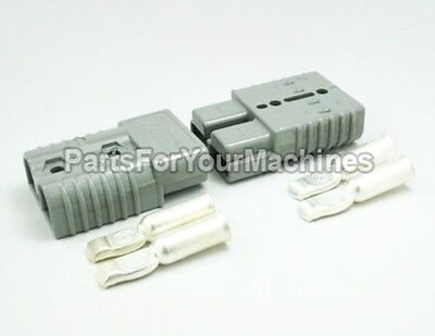 2 CONNECTORS PLUGS w/CONTACTS #1AWG, ANDERSON, BIG GRAY,SB175A 600V, WINCHES