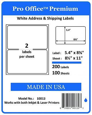 PO13 400 Sheets/800 Labels Pro Office Round Corner Self-Adhesive shipping Label