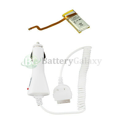 Battery + Car Charger for iPod 5th Gen 30gb 616-0223 5G