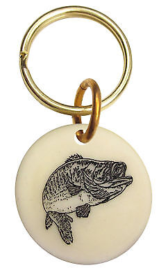 Montana Marble Etched Key Chain Bass Fisherman