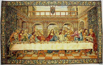 "Leonardo Da Vinci The Last Supper 43"" X 27"" Inch Belgian Jacquard Woven Tapestry"