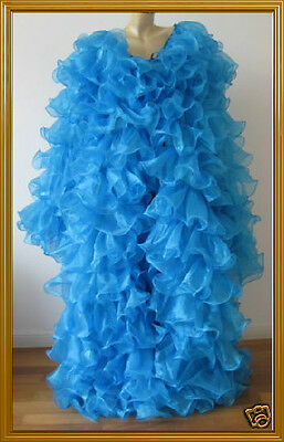 blue GAY Chiffon Organza cabaret Drag queen Ruffle Coat