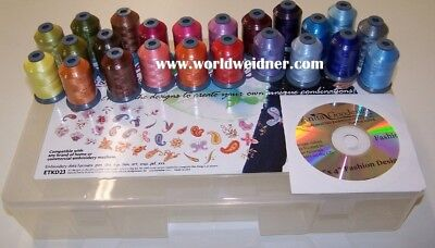 23 spool Embroidery Thread Kit + 40 Embroidery Designs
