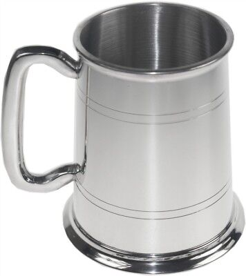 Personalised 1 Pint British Made Double Line Pewter Tankard Any Message Engraved