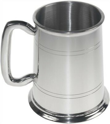 Personalised 1 Pint Double Line Polished Pewter Tankard Any Message Engraved