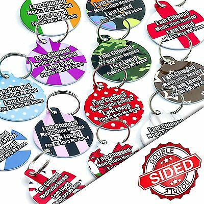 Round PET ID TAGS Personalised Dog Name ID Tag - Pet Tags - Engraved FREE