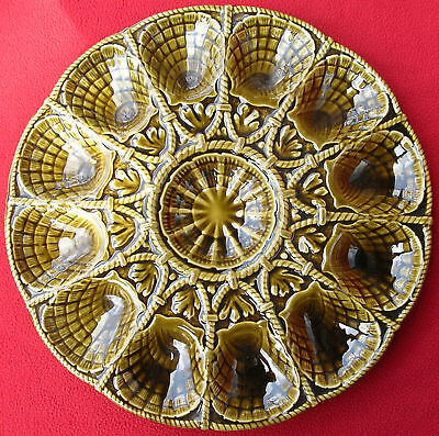 Old French Sarreguemines Majolica Oyster Shell Platter