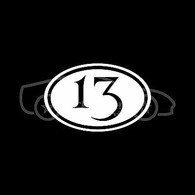 Number 13 Sticker Euro Oval Lucky Macabre Vinyl Decal Car Truck White Euro JDM