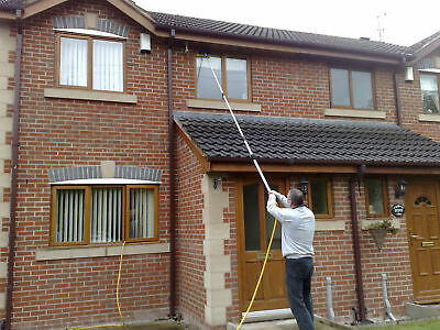 13Ft Water Fed Telescopic Extendable Window Cleaning Pole Kit Squeegee Tool