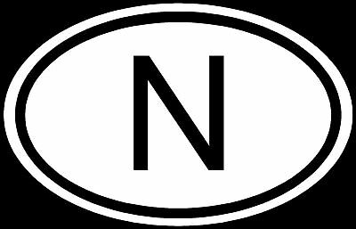 Norway N Sticker Car Country Code Vinyl Decal Euro Oval
