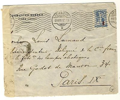 7588- Greece censured cover Piree to France 1917