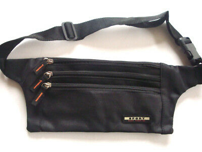 Travel Money Belt Passport Waist Porch Sport Bum Bag - compact Black New