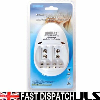 Mains Charger for AAA AA 9V PP3 Batteries NiMh NiCd