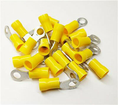 50 x YELLOW RING 8MM RINGS EYELETS CRIMPS WIRING CONNECTORS TERMINAL WT52