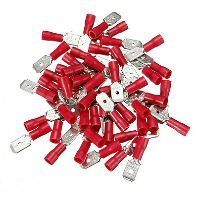BULK 1000 x RED 6.3MM MALE TAB SPADE WIRING TERMINALS CRIMP CONNECTOR WT58