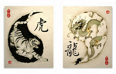 Oriental Asian Art Of Tiger And Dragon